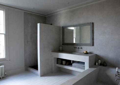 Rå betong i badrummet