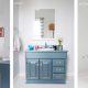 Badrumsinspiration - Badrum med kakel blå badrumsmöbel
