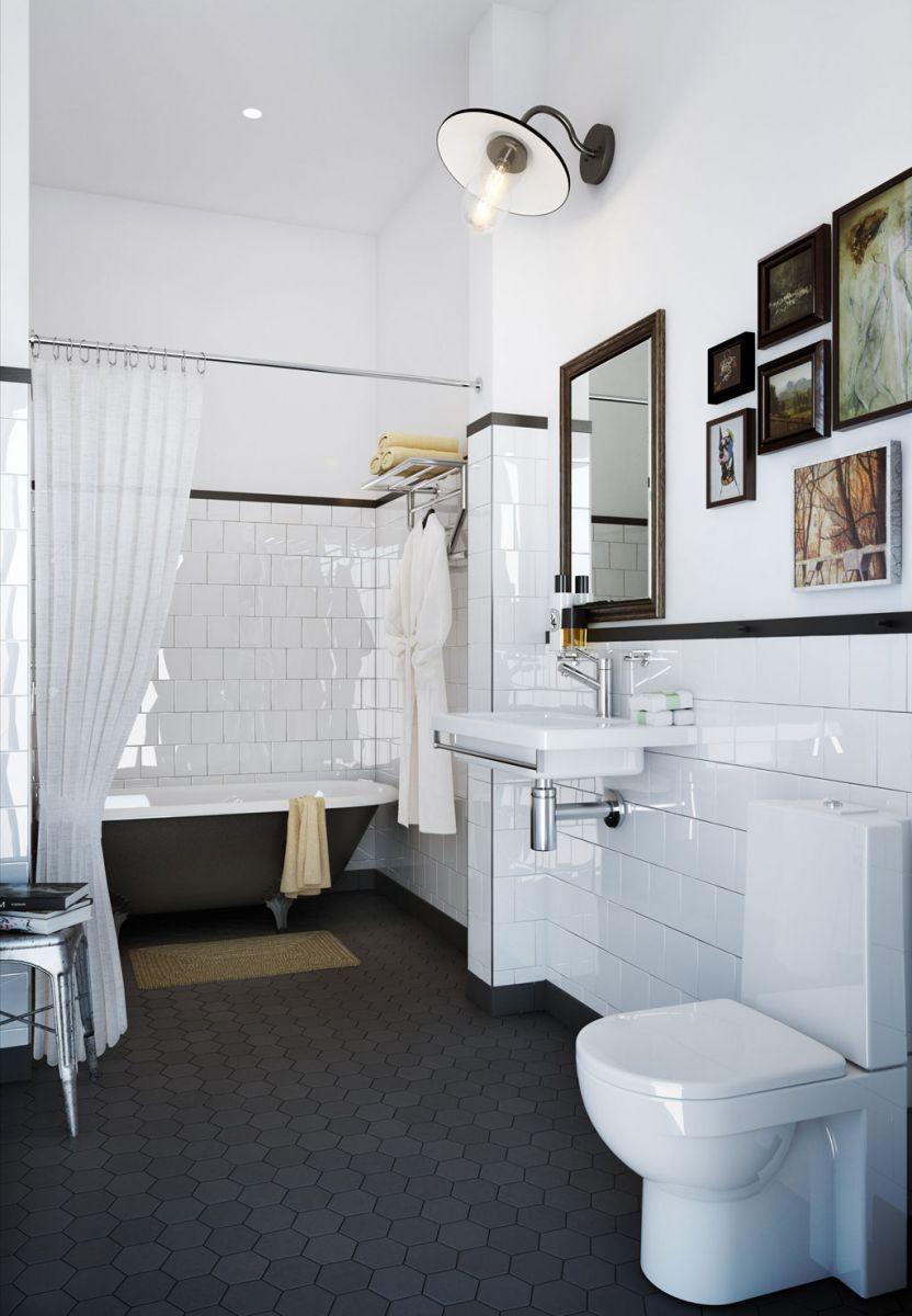 Hexagon som format p l derfabriken badrumsdr mmar for Black and white bathroom design inspirations