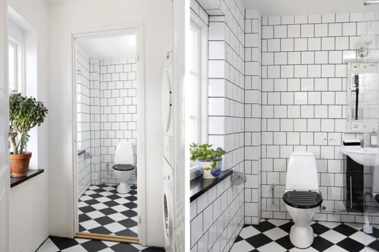Kvadratiskt med svart/vitt golv