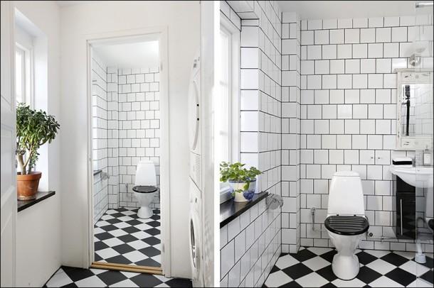 hålla dig till enkla svarta eller vita möbler samt handdukar
