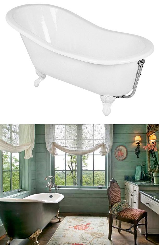 Litet tassbadkar i romantiskt badrum
