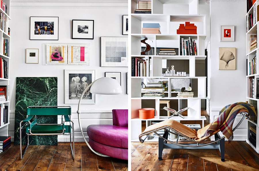 badrumsinspiration_gron-kolmardsmarmor_vita-vaggar_foto-andrea-papini_elle-decoration_badrumsdrommar_rosa-soffa_le-corbusier-chaise-lounge