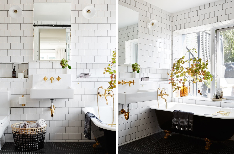 Badrum små badrum inspiration : Retrobadrum i vitt med mörk fog | Badrumsdrömmar