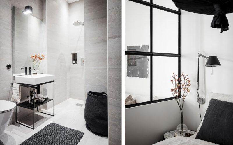 Badrumsinspiration - badrum med stora plattor och svart glasvägg 4e540ab8423b8