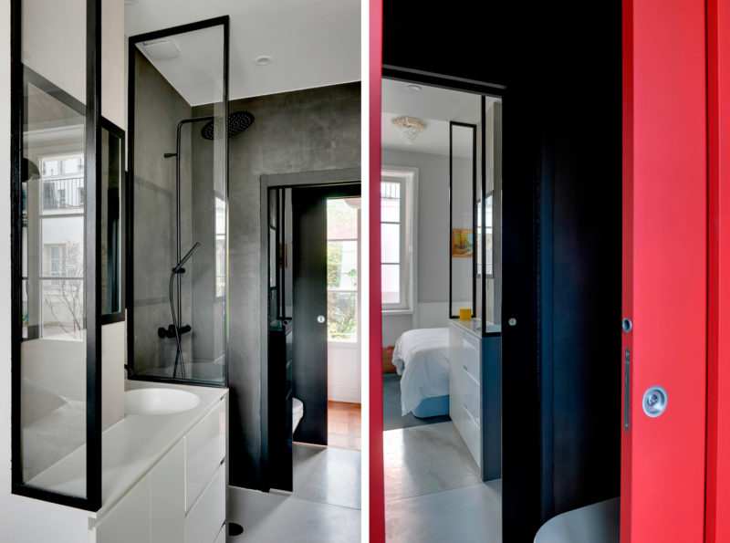 Badrumsinspiration - Litet badrum i Paris med svart duschvägg 52b6da3244b41