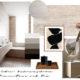 Badrumsinspiration - Skapa stilen Tres chic i badrum med travertine, midcentury design, Perriand stool och INR badrumsmöbel i cappuccino