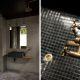 Badrumsinspirarion - Industriellt badrum med betong, svart mosaik och kranar i mässing.
