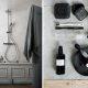 Badrumsinspiration - Stilleben i grått badrum med slitet trä, höga socklar, putsade väggar med styling av Lotta Agaton