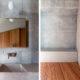 Badrumsinspiration - Betong i badrum med gjutet tvättställ, borstad stål blandare och platsbyggd förvaring i trä.