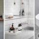 badrumsinspiration snabbfix litet badrum praktisk forvaring smaforvaring i badrum marmorbricka rullvagn knopplist badrumsdrommar